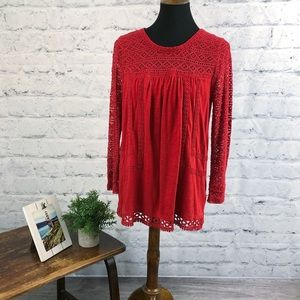 Vintage America Blues red crochet detail blouse